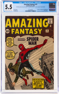 Amazing Fantasy #15 Signed by Steve Ditko and Stan Lee (Marvel, 1962) CGC FN- 5.5 Cream to off-white pages