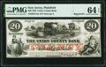 Obsoletes By State:New Jersey, Plainfield, NJ- Union County Bank $20 Sep. 12, 1859 Remainder G12a PMG Choice Uncirculated 64 EPQ.. ...