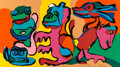 Prints & Multiples, Karel Appel (1921-2006). Laughing Frogs and all his Friends, 1979. Screenprint in colors on wove paper. 39-3/4 x 71-3/4 ...