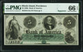 Obsoletes By State:Rhode Island, Providence, RI- Bank of America $5 18__ Remainder G14a PMG Gem Uncirculated 66 EPQ.. ...