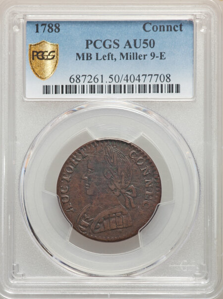 1788 Connecticut Copper, M. 9-E, MS, BN PCGS Secure 50 PCGS