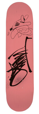 OG Slick (b. 1967) Untitled, early 21st century Hand-painted acrylic on skate deck 32 x 8 inches