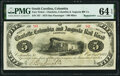 Columbia, SC- Charlotte, Columbia and Augusta Rail Road Company $5 Oct. 1, 1873 Remainder Sheheen 628 PMG Choice