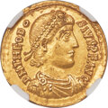 Ancients:Roman Imperial, Ancients: Theodosius I, Eastern Roman Empire (AD 379-395). AV solidus (21mm, 4.46 gm, 11h). NGC MS 5/5 - 4/5....