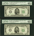 Small Size:Federal Reserve Notes, Reverse Changeover Pair Fr. 1958-B/1957-B $5 1934B/1934A Federal Reserve Notes. PMG Gem Uncirculated 65 EPQ; Choice Uncirculat... (Total: 2 notes)