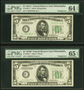 Small Size:Federal Reserve Notes, Changeover Pair Fr. 1957-C/1958-C $5 1934A/1934B Federal Reserve Notes. PMG Choice Uncirculated 64 EPQ; Gem Uncirculated 65 EP... (Total: 2 notes)