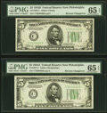 Small Size:Federal Reserve Notes, Reverse Changeover Pair Fr. 1958-C/1957-C $5 1934B/1934A Federal Reserve Notes PMG Gem Uncirculated 65 EPQ.. ... (Total: 2 notes)