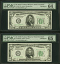 Small Size:Federal Reserve Notes, Changeover Pair Fr. 1957-D/1958-D $5 1934A/1934B Federal Reserve Notes. PMG Choice Uncirculated 64 EPQ/Gem Uncirculated 65 EPQ... (Total: 2 notes)
