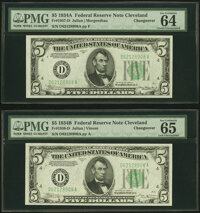 Changeover Pair Fr. 1957-D/1958-D $5 1934A/1934B Federal Reserve Notes. PMG Choice Uncirculated 64 EPQ/Gem Uncirculated...
