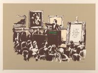 Banksy (b. 1974) Morons (Sepia), 2007 Screenprint in colors on Somerset paper 22 x 30 inches (55