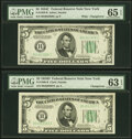 Small Size:Federal Reserve Notes, Changeover Pair Fr. 1959-B/1960-B $5 1934C Wide/1934D Federal Reserve Notes. PMG Gem Uncirculated 65 EPQ; Choice Uncirculated ... (Total: 2 notes)