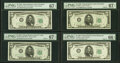 Small Size:Federal Reserve Notes, Top Pop $5 1950 Narrow and Wide II FRNs PMG Graded.. Fr. 1961-D Narrow Superb Gem Unc 67 EPQ;. Fr. 1961-H Narrow Super... (Total: 4 notes)