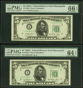 Fr. 1962-I; I* $5 1950A Federal Reserve Notes PMG Gem Uncirculated 66 EPQ; Choice Uncirculated 64 EPQ. ... (Total: 2 not...