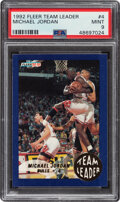 Basketball Cards:Singles (1980-Now), 1992 Fleer Team Leader Michael Jordan #4 PSA Mint 9....