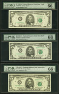 Small Size:Federal Reserve Notes, Fr. 1977-B (2); B*; C; G; L* $5 1981A Federal Reserve Note. PMG Graded. . ... (Total: 6 notes)