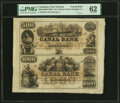 Obsoletes By State:Louisiana, New Orleans, LA- Canal Bank $500-$1,000 18__ Uncut Sheet of Two PMG Uncirculated 62.. ...