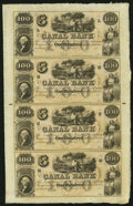 Obsoletes By State:Louisiana, New Orleans, LA- Canal Bank $100-$100-$100-$100 18__ Uncut Sheet Extremely Fine.. ...
