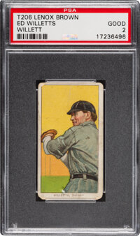 1909-11 T206 Lenox-Brown Ed Willett (sic Willetts) PSA Good 2 - Only Three PSA-Graded Examples!