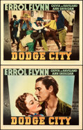 """Movie Posters:Western, Dodge City (Warner Bros., 1939). Very Fine. Linen Finish Lobby Cards (2) (11"""" X 14"""").. ... (Total: 2 Items)"""