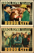 """Movie Posters:Western, Dodge City (Warner Bros., 1939). Very Fine-. Linen Finish Lobby Cards (2) (11"""" X 14"""").. ... (Total: 2 Items)"""
