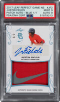 Baseball Cards:Singles (1970-Now), 2017 Leaf Perfect Game National Showcase Patch Autograph Justin Fields #PA-JF2 PSA Mint 9 - Serial Numbered 1/1....
