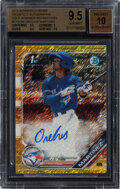Baseball Cards:Singles (1970-Now), 2019 Bowman Chrome Prospects Autograph Orelvis Martinez (Gold Shimmer Refractor) #CPA-OM BGS Gem Mint 9.5, Auto 10 - Serial N...