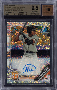 2019 Bowman Chrome Prospects Autograph Marco Luciano (Speckle Refractor) #CPA-ML BGS Gem Mint 9.5, Auto 10 - Serial Numb...