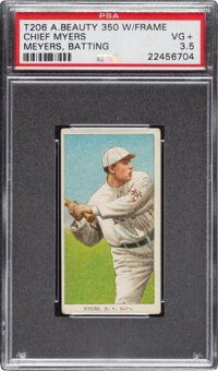 1909-11 T206 American Beauty 350 with Frame Chief Meyers (Batting-sic Myers) PSA VG+ 3.5 - Pop One, One Higher for Brand...