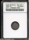 Early Half Dimes: , 1800 H10C --Damaged, Bent--ANACS. Fair Details, Net Poor 1.