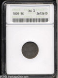 Early Half Dimes: , 1800 H10C AG3 ANACS. V-1, LM-1, R.3. The date is bold on ...