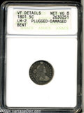Early Half Dimes: , 1801 H10C --Plugged, Damaged, Bent--ANACS. VF Details, Net ...