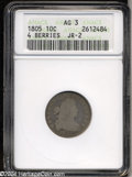 Early Dimes: , 1805 10C 4 Berries AG3 ANACS. JR-2, R.2. Well worn into ...