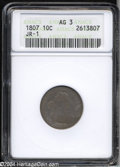 Early Dimes: , 1807 10C AG3 ANACS. JR-1, R.2. Extensively worn with ...