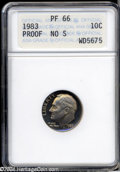 Proof Roosevelt Dimes: , 1983 10C No S PR66 ANACS. Fully struck with lovely rose-...