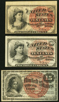 Fractional Currency:Fourth Issue, Fr. 1258 10¢ Fourth Issue Two Examples Very Fine; Extremely Fine;. Fr. 1269 15¢ Fourth Issue Very Fine-Extremely Fine.. ... (Total: 3 notes)