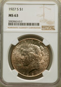 Peace Dollars: , 1927-S $1 MS63 NGC. NGC Census: (1100/1110). PCGS Population: (2155/1668). CDN: $415 Whsle. Bid for NGC/PCGS MS63. Mintage ...