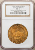 1959 Oregon Statehood Centennial, Uniface So-Called Dollar, -- Holed -- HK-565, R.6, MS66 NGC. Gilt bronze. With this pa...