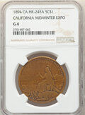 1894 Medal California Midwinter Exposition, Type II, Brass, HK-245a, R.5, Good 4 NGC. NGC Census: (1/41). PCGS Populatio...
