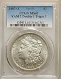 Morgan Dollars, 1887-O $1 VAM-2, Doubled 1, Tripled 7, MS61 PCGS. A Top 100 Variety. PCGS Population: (14/99). NGC Census: (38/97). MS61....