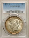 Peace Dollars: , 1927-S $1 MS62 PCGS. PCGS Population: (1235/3827). NGC Census: (792/2211). CDN: $270 Whsle. Bid for NGC/PCGS MS62. Mintage ...