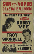 """Movie Posters:Rock and Roll, The Bobby Vee Show (Crystal Ballroom, 1961). Fine/Very Fine. Concert Window Card (14"""" X 22""""). Rock and Roll.. ..."""