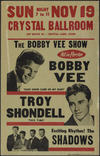 """The Bobby Vee Show (Crystal Ballroom, 1961). Fine/Very Fine. Concert Window Card (14"""" X 22""""). Rock and Roll..."""