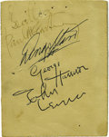 "Music Memorabilia:Autographs and Signed Items, Beatles Signed Promo Card. This 4.5"" x 3.5"" promo card for an April20, 1963 dance at the Mersey View Ballroom is signed on..."