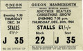 "Music Memorabilia:Tickets, ""Another Beatles Christmas Show"" Opening Night Ticket. An unused ticket to the December 24, 1964 opening night performance ..."