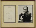 Movie/TV Memorabilia:Autographs and Signed Items, Bela Lugosi Signed Letter with Photo. This typed letter from Lugosi to Rudy Vallee is dated February 15, 1938, and was writt...