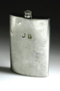 "Movie/TV Memorabilia:Memorabilia, James Dean's Silver Flask. This sterling silver, English-madeliquor flask bears the initials ""JD."" Supposedly, Dean often u..."