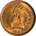 Indian Cents: , 1903 1C MS67 Red NGC. This frosty piece is a lustrous Superb Gemwith blazing deep orange surfaces. It is sharply struck an...