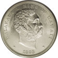 Coins of Hawaii: , 1883 $1 Hawaii Dollar MS63 PCGS. This fully lustrous Akahi Dala isfaintly toned gold and ivo...