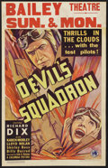 "Movie Posters:War, Devil's Squadron (Columbia, 1936). Window Card (14"" X 22"").Aviation Drama. Starring Richard Dix, Karen Morley, Lloyd Nolan,..."