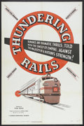 "Movie Posters:Short Subject, Thundering Rails (Universal International, 1950). One Sheet (27"" X41""). Short Subject. Narrated by Ed Herlihy. Directed by ..."